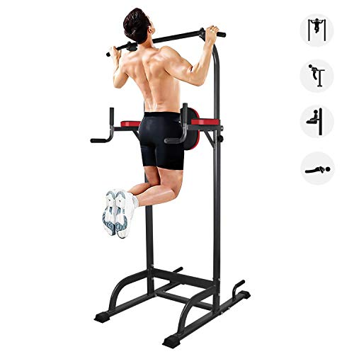 YEEGO Multi-Function Power Tower Pull Up Bar Dip Stand Gym Station Adjustable Height Pull Up Station Push Up for Home Gym Strength Training Workout Equipment, 400LBS