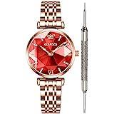 OLEVS Diamond Ladies Red Watches for Women Waterproof Prismatic Luxury Fashion Watches for Women Fine Classy Steel Analog Quartz Watch