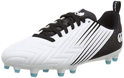 Canterbury Speed 3.0 Firm Ground, Zapatillas para Rugby Hombre, Blanco/Negro/Azul Ángel, 44 EU