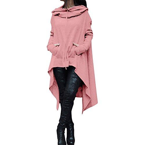 Women Loose Hoodie Long Hooded Tops Ladies Sweatshirt Sweater Asymmetric Blouse(Pink,M)