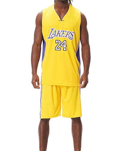 DEBND Herren NBA Lakers Kobe Bryant #24 Retro Basketball Shorts Sommer Trikots Basketballuniform Top & Shorts Basketball Anzug