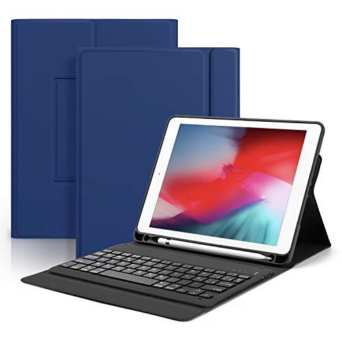OMOTON Funda con Teclado iPad 9.7, Compatible con iPad Air 2/ iPad 2018/ iPad 2017/ iPad Air/iPad Pro 9.7, Teclado Bluetooth Español, Funda Azul