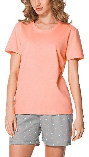 Merry Style Damen Schlafanzug MS10-177 (Lachs/Grau, M)