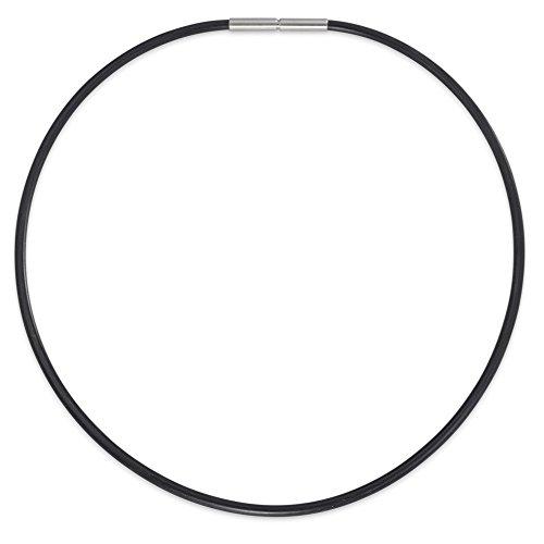 Rhomberg Collier Edelstahl, Kautschuk 50 cm Ø3 mm, Durchmesser: 3 mm, Länge (cm): 50 cm, Marke: TeNo, Verschluss: Bajonett