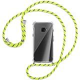mtb more energy® Handykette kompatibel mit Samsung Galaxy Xcover 4, 4S (SM-G390, G398 / 5.0'') - Neon-Gelb gestreift - Smartphone Hülle zum Umhängen - Anti Shock Full TPU Hülle