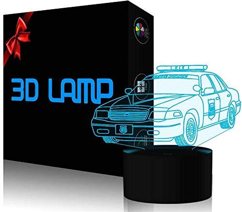 3D ilusión lámpara policía coche Navidad regalo noche luz 16 colores regulable control táctil con base grieta+control remoto para niños niñas niños regalos