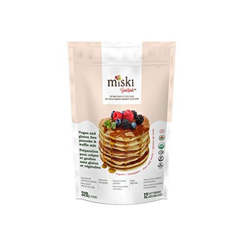 Miski - Organic Vegan and Gluten Free Pancake and Waffle Mix - 1 pack - 320 g (11.2 oz) | Certified Organic, Kosher, Non-GMO, Vegan, Gluten Free – Less Than 80 Calories per Pancake | Makes Approx. 12 Pancakes