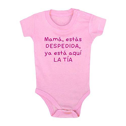 Body bebé Mamá, estás Despedida, ya está aquí la tía. Regalo bebé, Regalo Body bebé. Bebé Friki. Bebé Friki. Manga Corta. (Rosa, 3 Meses)