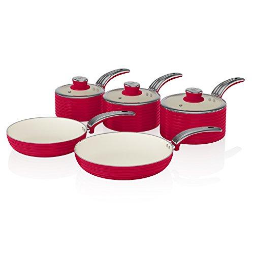 Swan SWPS5020RN Batería de Cocina Antiadherente, Cerámica, Incucción, 2 Sartenes 20/28 cm, 3 Cacerolas 16/18/20 cm, Rojo, Metal, 29.5x47x18 cm, 5 Set