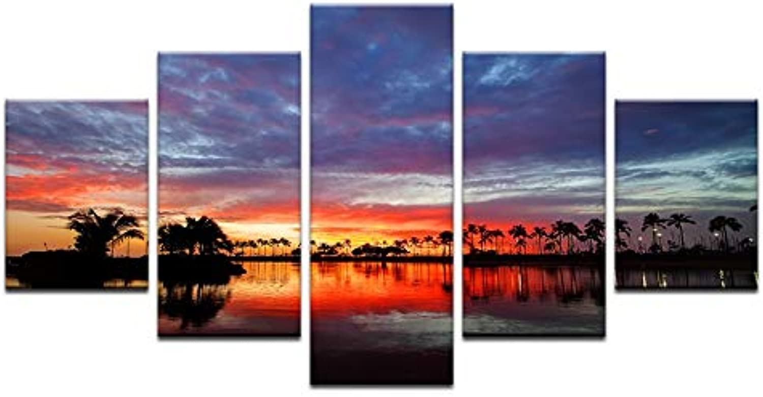 5pcs Beautiful Natural Landscepe Printed Prints Prints Wall Artwork Sunset River Painting On Canvas for Bedroom Home Decor Oil Picture