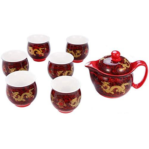 ufengke 7 Piezas Juego De Té De Cerámico Chino Juego De Té Kung Fu, Patrón Golden Dragon, Tazas De Té De Doble Pared, para Regalo, La Familia Y La Oficina - Rojo