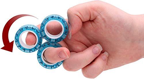 Toyland Confezione da 3 Anelli magnetici Professionali con Anello Rotante - Anelli Glitter - Fidget - Giocattoli per Le Dita - Riduzione dell'ansia / dello Stress - età 8+ (Rosa)