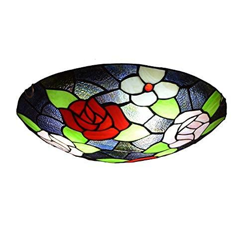 Lámpara de Techo Retro, Luces de Techo de vitrales Estilo Tiffany para Dormitorio, Comedor, Restaurante, lámpara Colgante Europea, luz de 20 Pulgadas (50 cm)