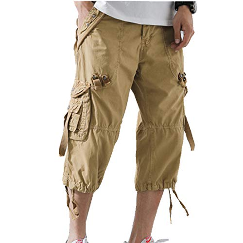 ONLYWOOD Men's Washed Cotton Multi-Pockets Below Knee Long Military Cargo Shorts(Khaki,34)
