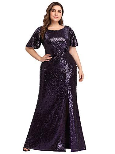 Ever-Pretty Damen Abendkleid Meerjungfrau Pailletten Ballkleid Kurze Ärmel große Größe Dunkelviolett 52