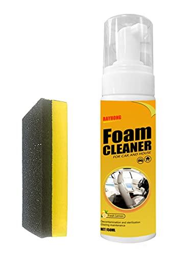 woejgo Limpiador de espuma multifuncional para coche y casa, sabor a limón, limpiador de piel de coche, limpiador de espuma potente, 150 ml