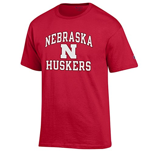 Champion NCAA Men's Shirt Short Sleeve Officially Licensed Team Color Tee, Nebraska Cornhuskers, Large