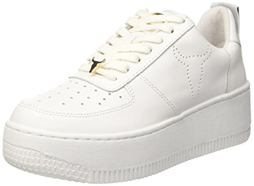 Windsor Smith Racerr, Sneaker a Collo Alto Donna, Bianco (Leather White), 37 EU