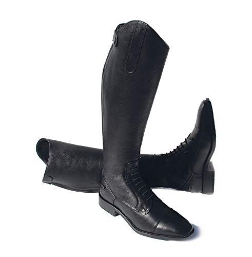 Rhinegold Reiter Luxus Leather Laced Riding Boot-9 Calf 1 Elite Reitstiefel, Leder, Schnürung, Größe 43, Wade 1, Schwarz, Size 9 (EU43)