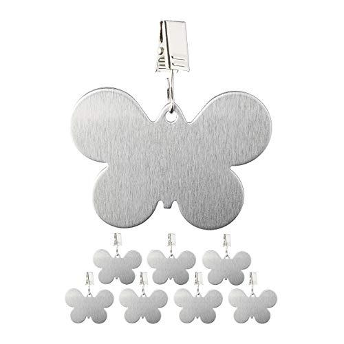 Relaxdays 8er Set Tischdeckenbeschwerer, Tischtuchhalter zum Beschweren, Schmetterling, In-und Outdoor, Edelstahl, Silber, 8 Stück
