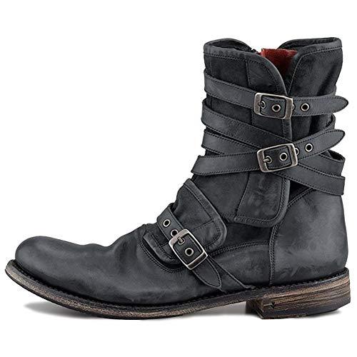 ZHITONG Botas de Nieve de Cuero para Hombre, cálidas y cálidas, sin Cordones, con Cremallera, Zapatos Oxford de Trabajo de Negocios, Botines Negros clásicos de Invierno InformalC-42