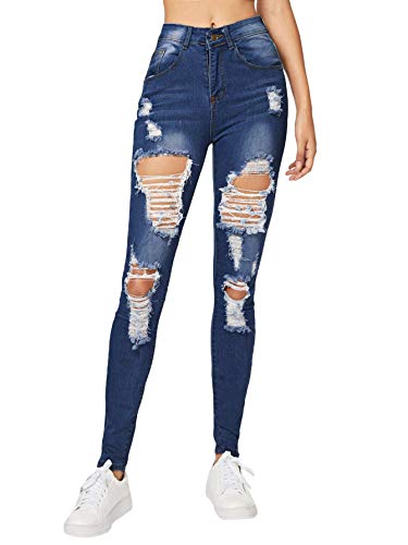 Milumia Women's Casual Mid Waist Skinny Slim Ripped Jeans Denim Pants Blue-2 M