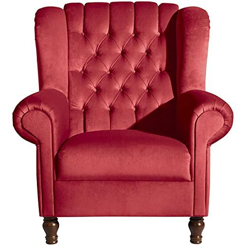 ZeoTioo Ohrensessel Ohrenbackensessel Rot Buche Nussbaumfarben ohrensessel esszimmerstühle esstisch stühle