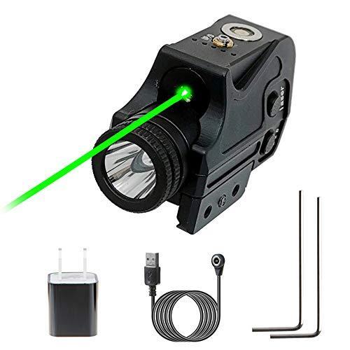 New Flashlight Laser Sight, Green Laser + Strobe Function Flashlight Pistol Rifles Laser Sight, Magnetic Charging Low Profile Standard Picatinny Rail Tactical Gun Green Dot Sight