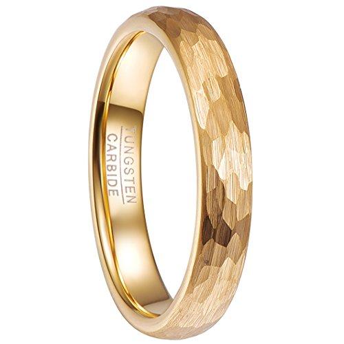 NUNCAD Damen Mädchen Paare Ring Gold 4mm aus Wolfram mit Gehämmertem Design für Zeigerfinger Alltag Hochzeit Jubiläum Partnerschaft Freundschaft Größe 57 (17)