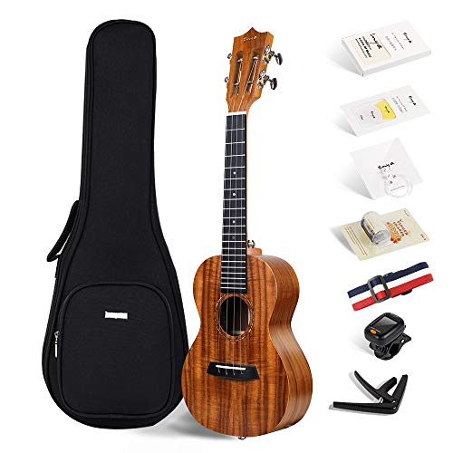Concert KOA ukulele Enya EUC-70 23 Inch Bundle with Online Lessons,String, Tuner, Strap,Fingershaker,Gig bag,Capo,Picks,Polishing cloth (Concert)