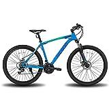 Hiland Bicicleta de montaña de 26/27,5 pulgadas, con cuadro de acero, freno de disco, horquilla de suspensión, bicicleta urbana, color azul