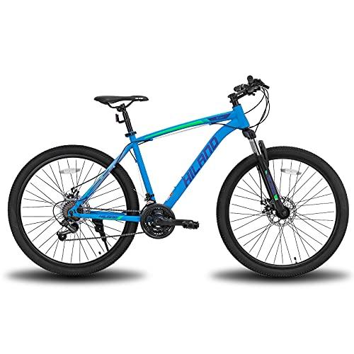 Hiland Mountain bike da 26/27,5 pollici, con telaio in acciaio, forcella ammortizzata per bicicletta, Urban Commuter, City, colore: blu