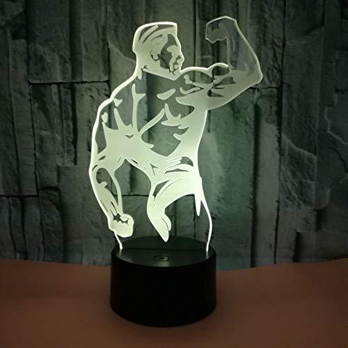 Tesysyet Culturismo Muscular Del Hombre 3D Estereoscópica LED De Colores Gradiente De Luz De La Noche De La Lámpara De Noche Tocar USB Remoto Creativos Regalos For Las Fiestas De Cumpleaños Escritorio
