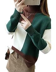 [セカンドルーツ] 配色 マルチカラー ハイネック ニット プルオーバー セーター レディース M~L