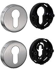 JUVA Cilinderrozet roestvrij staal mat deurrozet rond - H8250   PZ-cilinder binnendeur incl. bevestigingsmateriaal   sleutelrozet roestvrij staal massief   1 paar - deur-rozettenpaar afdekking voor kamerdeuren