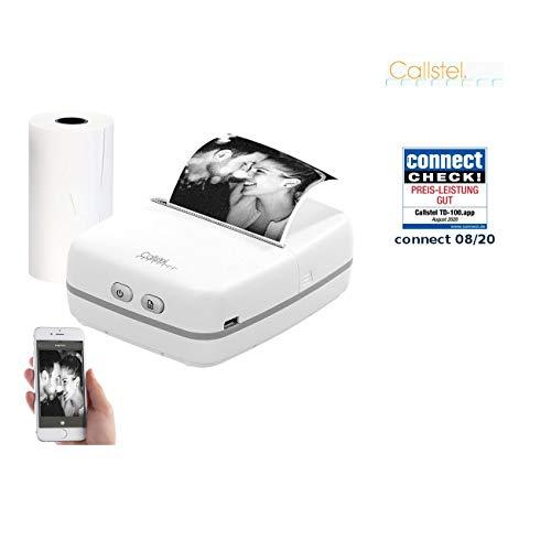 Callstel Drucker: Mobiler Akku-Foto-Thermodrucker für Android & iOS, Blutooth, App, (Fotodrucker)