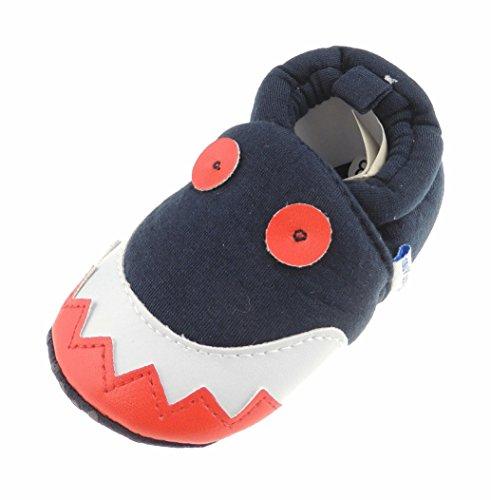 Glamour Girlz Adorables chaussons à enfiler pour bébé garçon Motif visage de créature monstre Rouge/blanc/bleu 11 0–3 mois