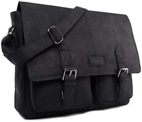 LEABAGS Cambridge Umhängetasche Schultertasche Laptoptasche 15 Zoll aus Echtleder, (LxBxH) ca. 38 x 10 x 31 cm - Schwarz