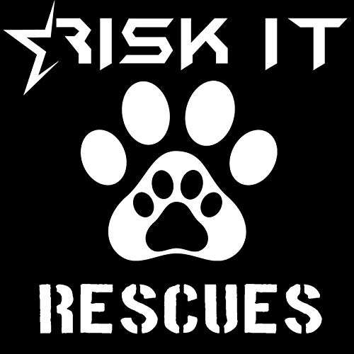 SUIFENG Car Stickers 10.2CMx10.2CM Risk It Rescues Dog Cat Car Window Vinyl Decal Sticker Paw Car Styling Fashion Car Stickers Black Sliver