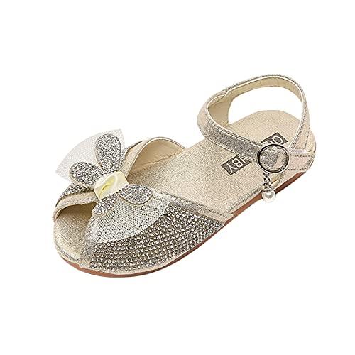 JDGY Sandali da bambina, estivi, per bambini, con fiocco, da principessa, con tacco e strass, scarpe da spiaggia, gold, 27