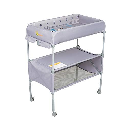 Kinfant Baby Changing Table with Wheels, Adjustable Height Folding Diaper Station Nursery Organizer for Infant