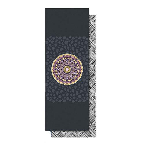 LLD 185 * 65cm Schweißabsorbierende rutschfeste Yogatuch-Pilates-Mattenabdeckung Yoga-Decke Yogamatte Handtuch Mikrofaser Doppelseitig Bedruckt, grau