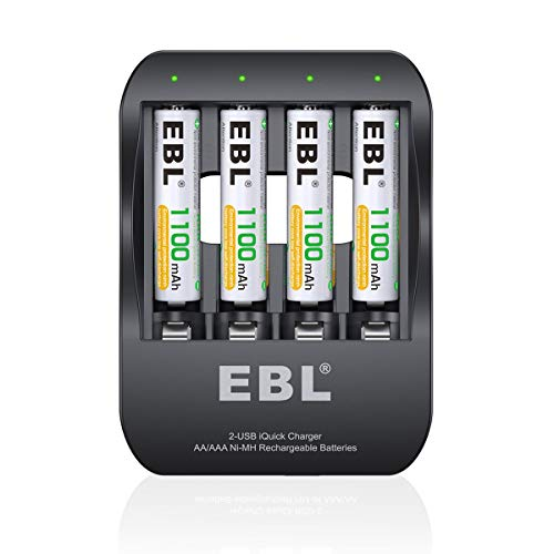 EBL AAA Rechargeable Batteries 1100mAh (4 Counts) and Quick Smart Battery Charger - 2 Hours Fully Charged, 2 USB Input Ports, More Convenient and Rapid