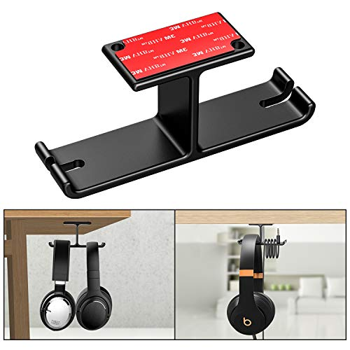 New bee Dual Headphone Hanger Headset Stand Under Desk Aluminum Headphone Hook Mount with Cable Organizer for All Headphones