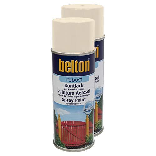 Kwasny 2X Belton Robust Buntlack Lackspray Lack Spray Spraylack Cremeweiss Hochglanz 400 Ml