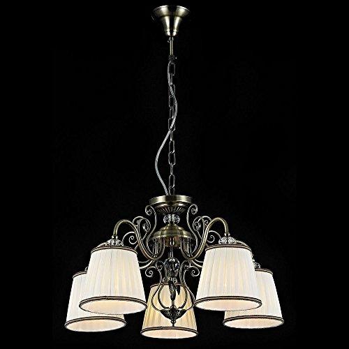 Lustre Suspension 5 lampes, style classique, baroque, armature en Métal couleur bronze, Abat-jours en tissu couleur blanc, pour la Chambre, le Salon, l'Entrée, sejour 5xE14 60W 220v