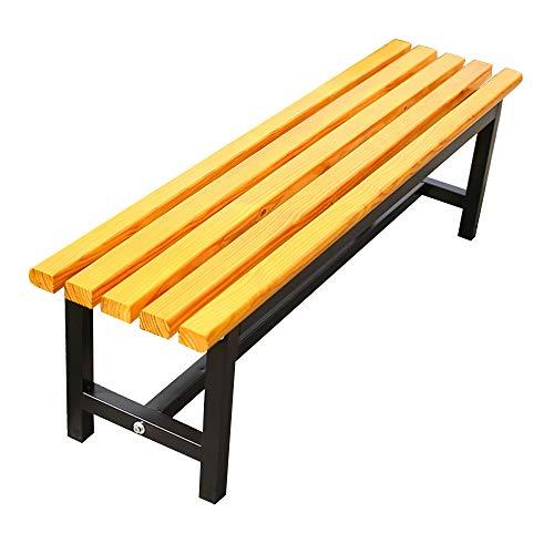 Banco de parque al aire libre taburete de jardín de madera maciza, asiento anticorrosión con estructura de acero sin apoyabrazos, taburete de reemplazo de silla de descanso para patio al aire