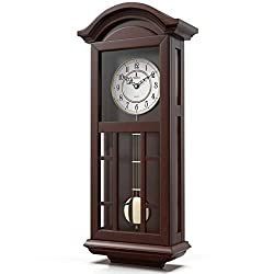 Pendulum Wall Clock Battery Operated - Quartz Wood Pendulum Clock - Silent, Large Dark Wooden Design, Decorative Wall Clock Pendulum For Living Room, Office, Kitchen & Home Décor Gift, 27 x 11.5