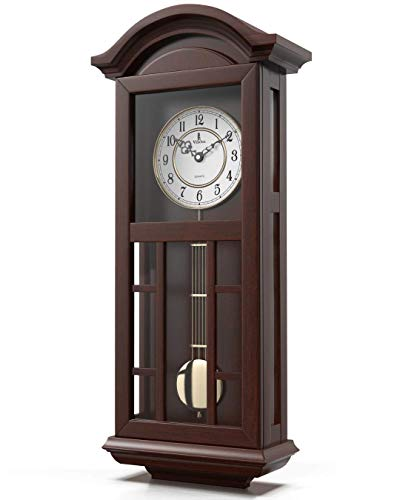Pendulum Wall Clock Battery Operated - Quartz Wood Pendulum Clock - Silent, Large Dark Wooden Design, Decorative Wall Clock Pendulum For Living Room, Office, Kitchen & Home Décor Gift, 27' x 11.5'