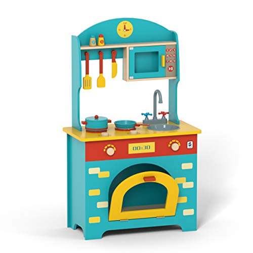ROBUD Wooden Play Kitchen Set - Pretend Play Toy Gift for Kids Toddlers Boys Girls, Ages 3 4 5 6 7 Years Old and Up